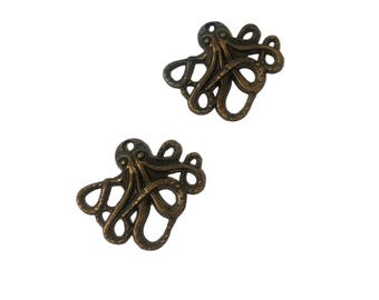 4 or 20 BULK Octopus Charms | Bronze Octopus | Steampunk Octopus | Kraken Charm | Cthulhu Charm | Ready to Ship USA | BR041