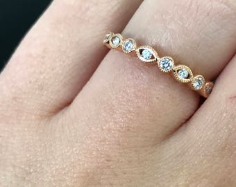 18kt Rose Gold Bezel Set Round Diamond Band