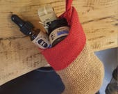 Christmas Stocking Beard Set Gift with beard oil, beard balm and beard soap with hessian / jute rustic stocking with hanging loop
