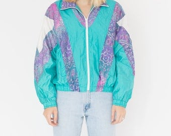 Vintage 90s Purple and Bright Blue Bomber Jacket