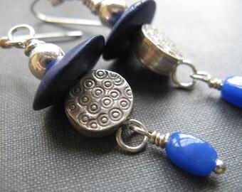 Modern blue sterling silver earrings, Hill tribe silver and blue beaded earrings,  polka dot silver earrings