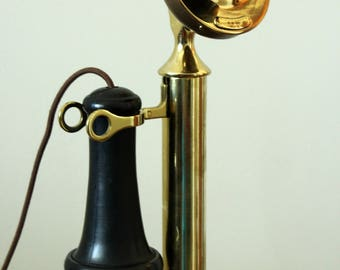 Antique Vintage Brass Western Electric Candlestick Phone