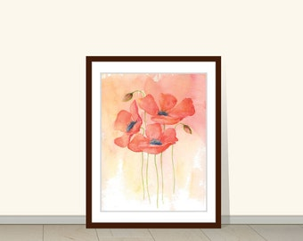 Poppy Watercolor Giclee Print, Poppy Plant Print, Watercolor Flowers, Floral, Red Poppy, Decor, Wall Art  Print, Botanical Print, Poster