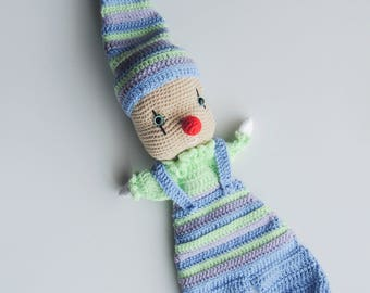 Doudou baby clown, clown amigurumi, clown doll, stuffed toy, plush toy, crib toy blue doudou, baby shower gifts, blue baby blanket mime doll