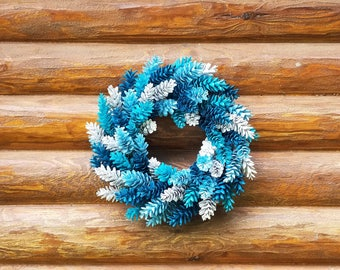 Blue Pine Cone Wreath, Blue and White Wreath, Aqua Wreath, Aqua Pine Cone Wreath, Spring Wreath, Girl's Room Wreath, Baby Boy's Room