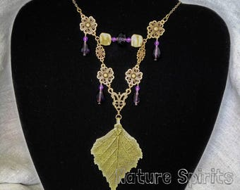 Shaman Leaf Charm Necklace  Gothic Jewelry Witch Boho Totem Forest Magic Purple Crystals