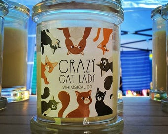 Crazy Cat Lady Soy Candle Australia Orange Vanilla Scented Fragranced Funny Novelty