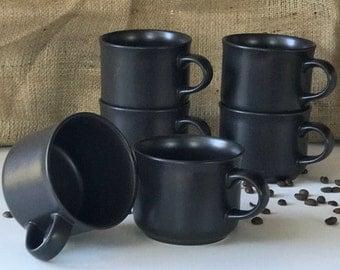 Vintage Pfaltzgraff Brown Coffee Mugs, Set of 6, Coffee Mug, Coffee Cup, Vintage Coffee Mug Set, Vintage Kitchen, Rustic, Mid Century Modern