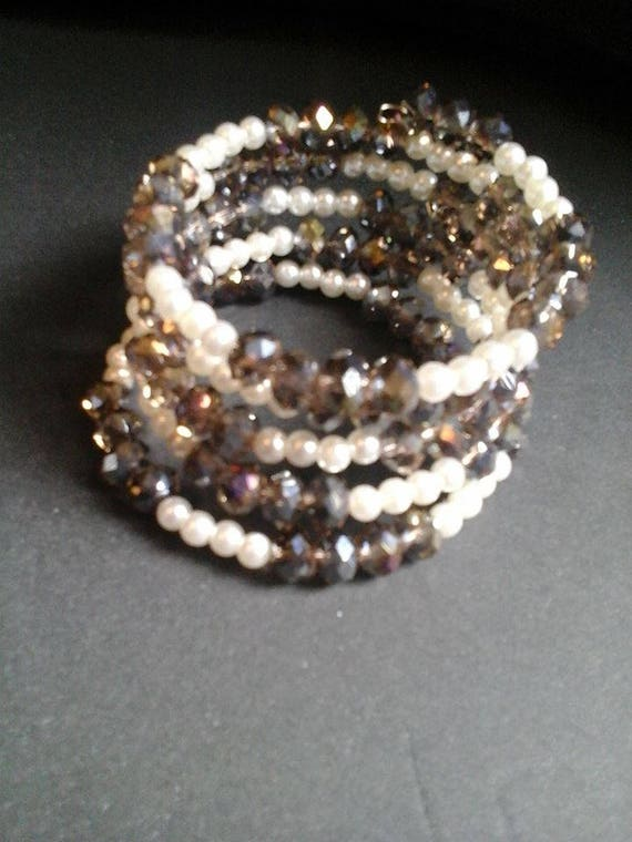 5 Strand Bead Cuff, Faceted Glass Bead and Glass Pearl Cuff, Memory Wire Bead Wrap Cuff,