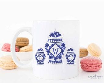 Ginger Jar-Coffee Mug/Monogram mugs/Blue and white coffee mug/Cute Custom Mug 11 oz-15 oz/Makes a great wedding present or Christmas gift
