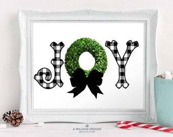 INSTANT DOWNLOAD JOY-Prinatable art-Christmas wall art-Gingham Joy printable/Holiday Digital Wall Art/ printable 8x10 art for home or office