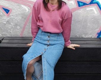 Midi Button Up Denim Skirt