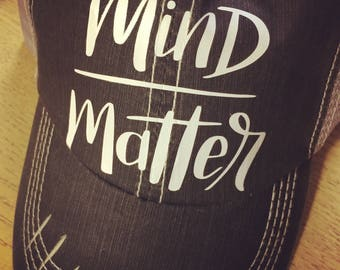 Mind Over Matter Custom Trucker Hat-Black Distressed-New