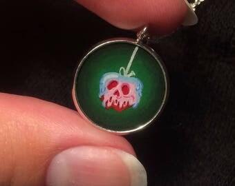 Snow White poison apple Disney hand painted pendant necklace choker