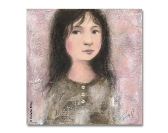 """painting """"Little"""" little girl pink background"""