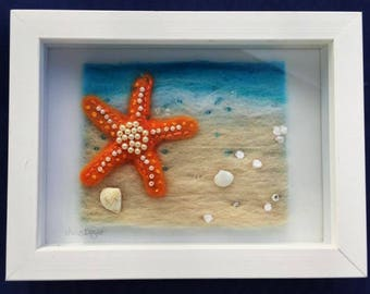 Starfish on the shore Textile Art