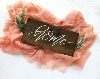 Home Wood Sign | Farmhouse Decor | Rustic Home Decor | Cottage Sign | Rustic Kitchen Sign | Wall Decor | Calligraphy Sign | Farmstyle