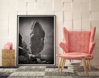 Yosemite Cairn Photo, Scenic Black & White Photography, Yosemite Rocks, Yosemite National Park, Farmhouse Modern, American West