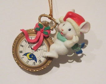 Mouse on a Pocket Watch Vintage Ornament
