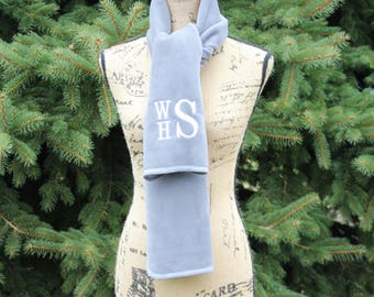 Women's scarf, Monogrammed Scarf, Monogram Scarf Women, Winter Scarf, Fleece Scarf, Gray Scarf, Gift for her, Stacked Monogram