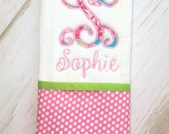 Baby girl burp cloth, monogrammed burp cloth, Lilly inspired burp cloth, baby shower girl, personalized burp cloths, lilly pulitzer baby