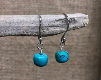 Small Drop Earrings with Turquoise Stone Beads