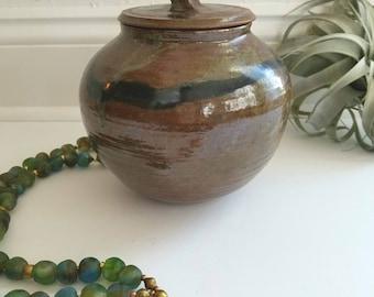 Vintage Handmade Ceramic Brown Jar with Lid