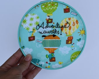 READY TO SHIP - Adventure awaits - Embroidery Hoop Art - Hot Air Balloons Decor - Wall Art - Wall Hanging - Kids Room Decor