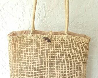 VINTAGE WOVEN TOTE• Womens tote bag • Wicker bag • Beach Bag • Shopping tote bag • Earthy tones • Handmade bag • Vintage bag • Ratten bag
