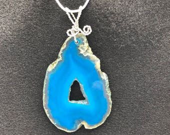 Blue Geode Agate pendant with Silver-plated wire and 925 Sterling Silver-filled chain.  A 30