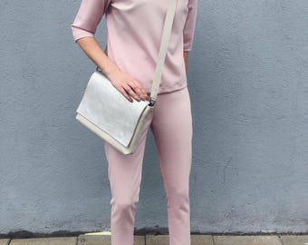 Two piece matching women's outfit/ Blushed pink/ Cigarette pants and loose blouse/ Fitted trousers short top/ Business wear/ Work look