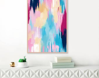 Pink and Blue Abstract Art, Modern Art Print, Extra Large Print, Large Wall Art, Pink Wall Art, Abstract Painting, Affordable Art