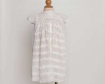vintage 1960s baby girl's ivory lace dress