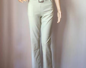 90s Y2K Beige Belted Buckle Stretchy Flares 14-16 L XL Extra Large Club Kid Rave Goth Punk