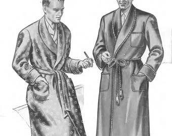 """1940's Vintage Sewing Pattern Men's Dressing Gown Robe Smoking Jacket Chest 38"""""""
