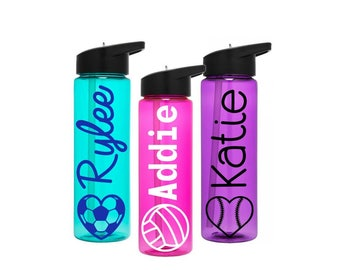 Sports Water Bottle, Girls Sports Tumbler, Volley Ball Team Gift, Soccer Sports Bottles, College Sports Tumbler, Softball Sports Bottle