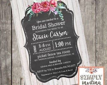 Rustic Floral Bridal Shower Invitation and Recipe Card, Printed Cards, Vintage, Wood, Chalkboard, Whitewash Wood, Rustic Shower, Bride to Be