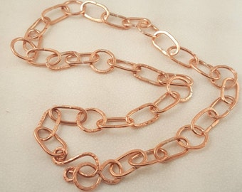 Hand Crafted Hammered Copper Link Chain