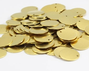 25 Pcs 16mm Raw Brass Round Charms, Round Disc, Round Stamping Discs, Raw Brass Stamping Tags, Plain Coins, Brass Discs, RMZ33