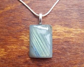 Labradorite silver necklace - gemstone necklace - birthstone necklace - gift necklace - birthday present - flashy labradorite - pendant - 27
