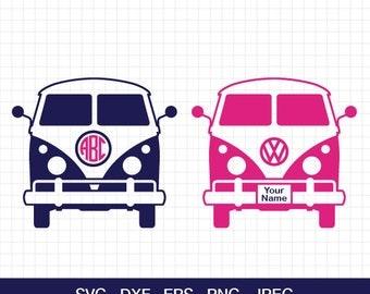 Retro Van Svg Camper Summer VW Bus Travel Monogram Frames Cutting Files For Circut Silhouette