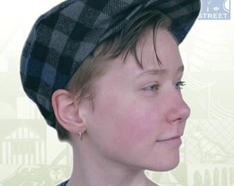 Flat cap flat hat newsboy cap blue black check tartan plaid wool blend