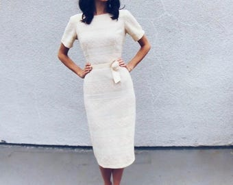 Goin' to the Chapel Dress   1960s Vintage Cream Lace Belted Rockabilly Wiggle Dress   Size M
