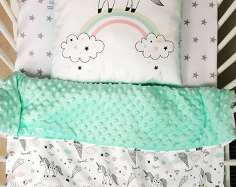 Unicorns and mint minky soft baby blanket and pillow set/ girls cot blanket / minky blanket and pillow