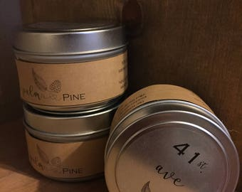 6 oz. Tin Hand-poured 100% soy candles