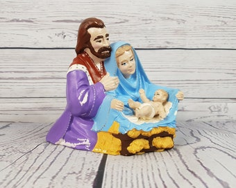 Vintage Virgin Mary & Joseph w/ Baby Jesus Ceramic Figurine Statue Religious Catholic Baptism Christian Birth Child Parents Hand Painted