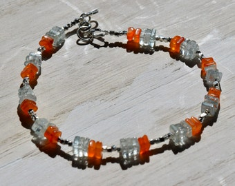 Carnelian and Aquamarine Bracelet~ Dainty Bracelets~ Energy Stone Bracelet~ Metaphysical Jewelry