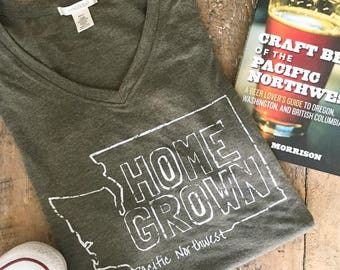 HOMEGROWN Pacific Northwest t-shirt. Women's v-neck t-shirt. PNW gear. Washington State. PNW. Country Girl Tee. Washington State Gear.
