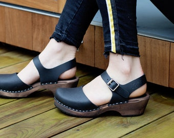 Swedish Clogs Low Wood Black Leather Brown Base by Lotta from Stockholm / Wooden Clogs / Sandals / Low Heel / Mary Jane Shoes
