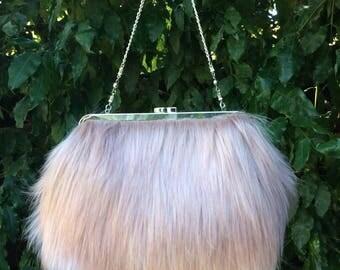 Faux fur clutch bag, Faux fur hand bag, Faux fur purse, Faux fur bag, Faux fur clutch, Faux fur handbag  - Blush